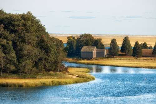 River, landscape, and house at Cape Cod, Massachusetts free photo