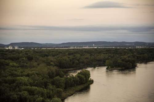 River, Trees, and Sauk City in the Distance in Wisconsin free photo