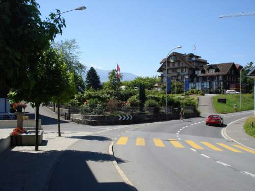 Road and house in Risch, Switzerland free photo