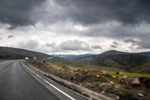 Road and landscape under clouds in the Andes free photo