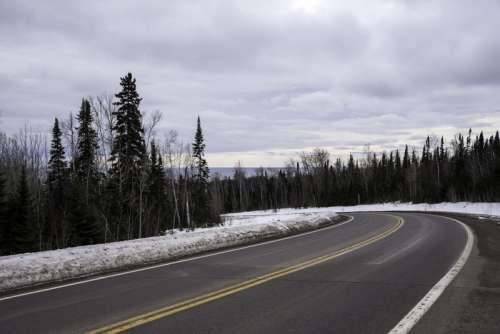 Road down to Grand Marais from the forest above free photo