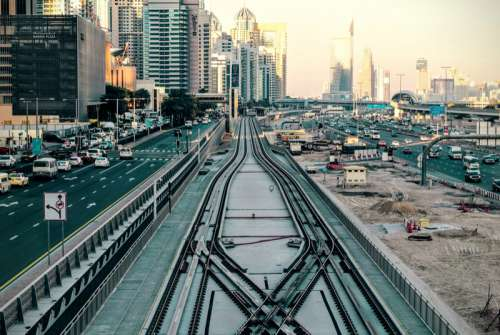 Roads, railroad, and buildings in Dubai, United Arab Emirates, UAE free photo