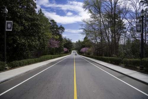 Road under the skies in the Gardens in Duke University in Durham, North Carolina free photo