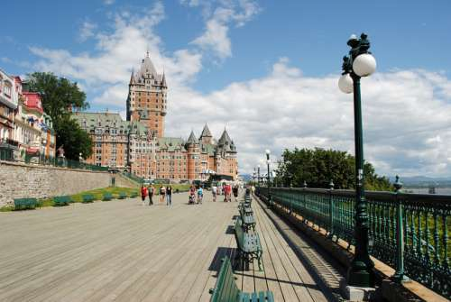 Road view with chateau in Quebec City, Canada free photo