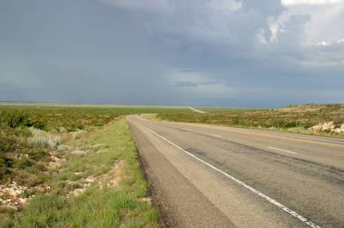 Roadway and landscape in Western Texas free photo