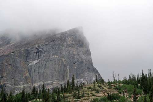 Rock Cliff in the Fog on Colorado free photo