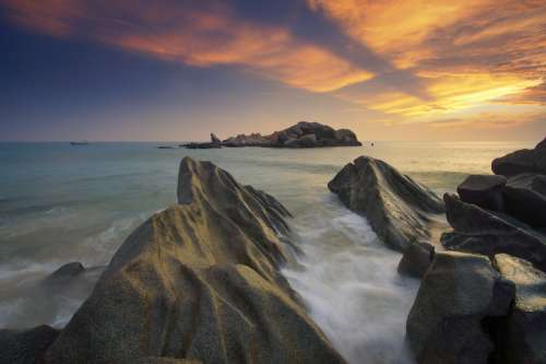 Rock Formation landscape  with water washing in free photo