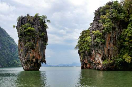 Rock Structure Rising out of the Sea in Thailand free photo
