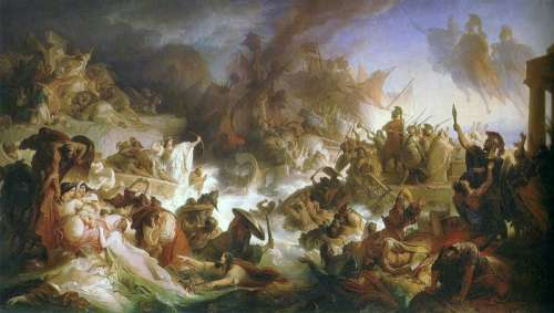 Romantic Painting of the Battle of Salamis free photo