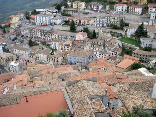 Rooftops and town in Italy free photo