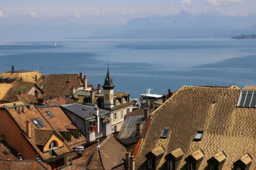 Rooftops in Geneva overlooking the Lake free photo