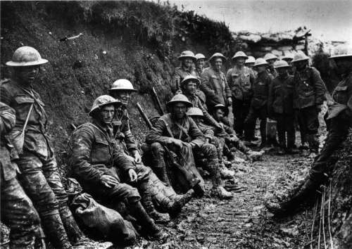 Royal Irish Rifles in a trench in the Battle of the Somme during World War I free photo