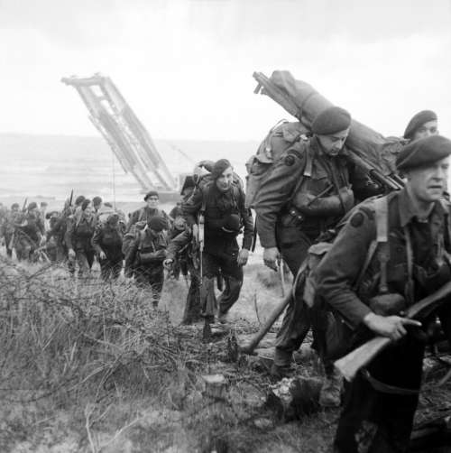 Royal Marine Commandos Move in from Sword Beach, D-Day, World War II free photo