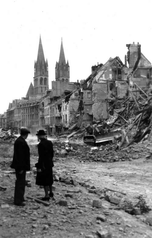 Ruins of Caen, France after World War II free photo