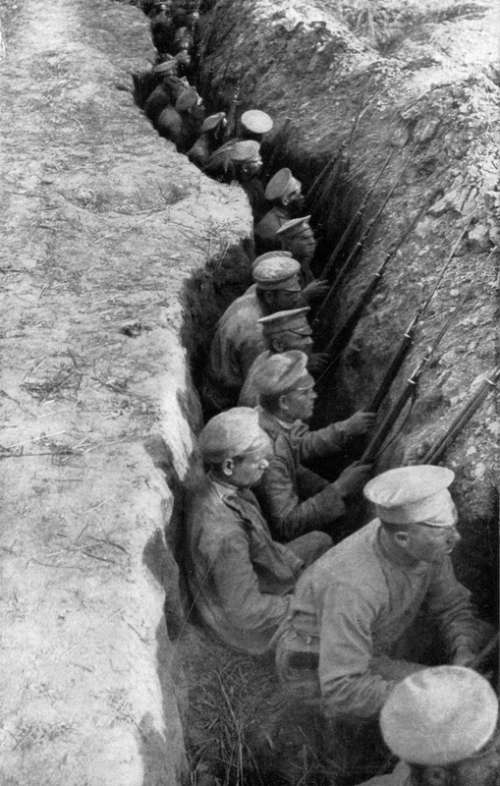 Russia Troops in a Trench awaiting German Attack in World War I free photo