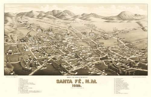 Santa Fe During the Railroad 1882, New Mexico free photo