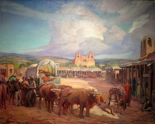 Santa Fe Plaza in 1850 in New Mexico free photo