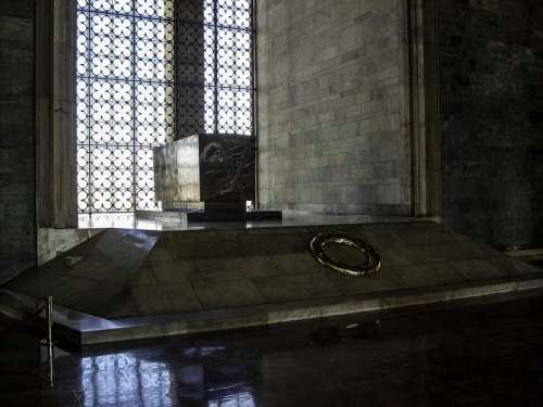 Sarcophagus of Atatürk's tomb inside the Hall of Honor in Ankara, Turkey free photo