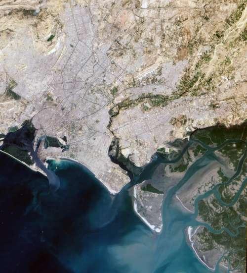 Satellite Image of Karachi, Pakistan free photo
