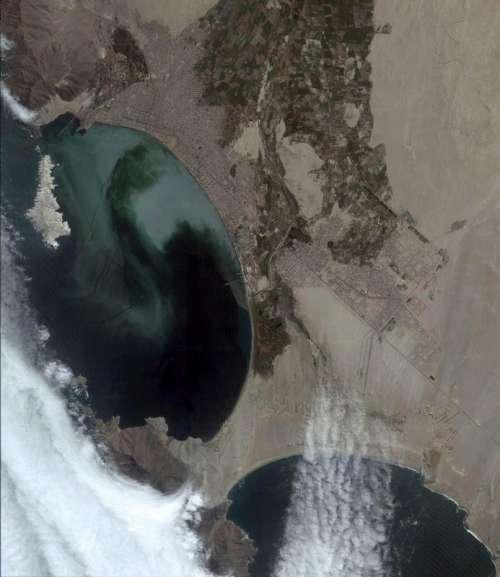 Satellite image of Chimbote in Peru free photo