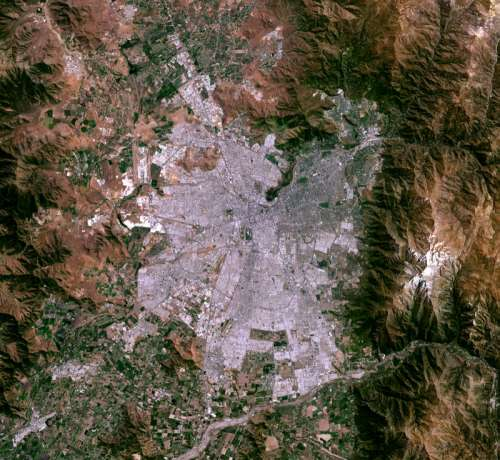 Satellite image of Santiago, Chile free photo