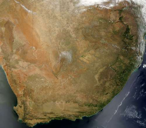 Satellite Image of South Africa free photo