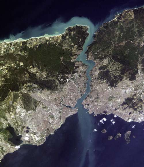 Satellite view of Istanbul and the Bosphorus strait in Turkey free photo