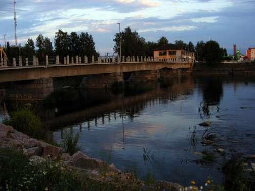 Savisilta Bridge spanning the river in Ylivieska, Finland free photo