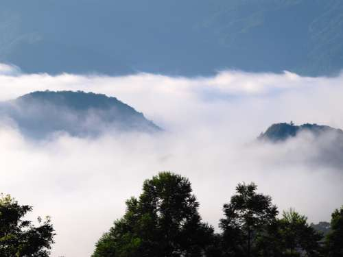 Sea of Clouds in the Mountains in Northern Taiwan free photo