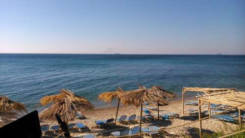 Seashore landscape and resort in Chios, Greece free photo