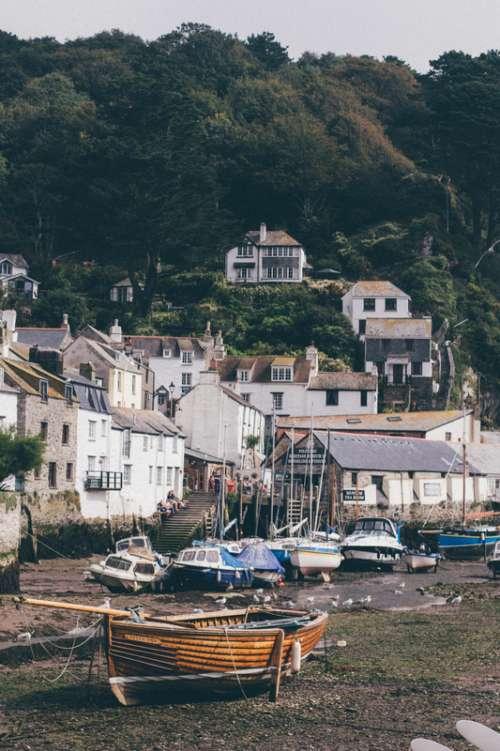 Seaside houses in Polperro, England free photo