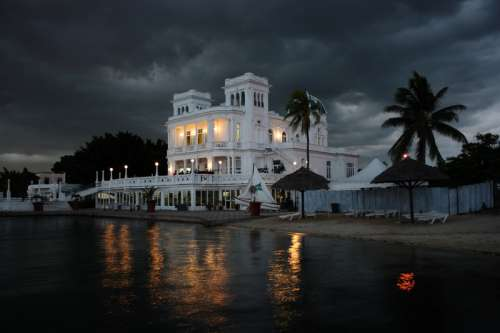 Seaside Resort at night in Cuba free photo