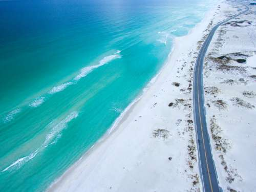 Seaside road and landscape in Florida free photo