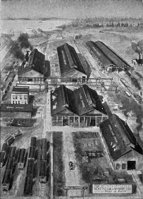 Seattle Car and Foundry works plant in Renton 1916 in Renton, Washington free photo