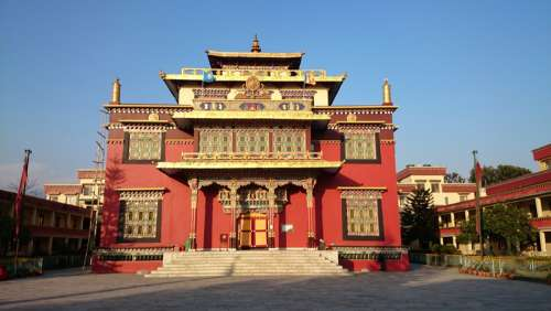 Shechen Tennyi Dargyeling Golden Temple in Kathmandu, Nepal free photo