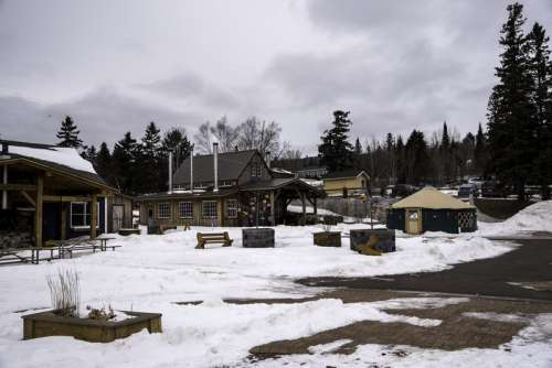 Shops, and buildings in the snowy winter in Grand Marais, Minnesota free photo