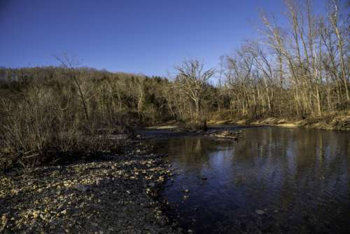 Shoreline and Current River Landscape at Echo Bluff State Park, Missouri free photo