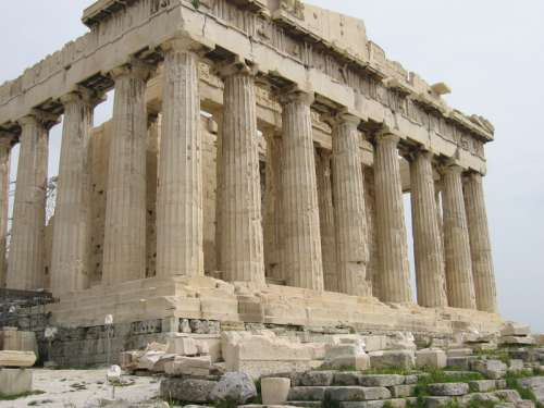 Side of the Parthenon in Athens, Greece free photo