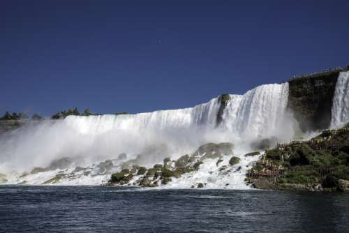Side view of American falls from the River at Niagara Falls, Ontario, Canada free photo