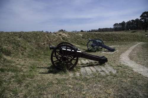 Siege Cannons in the American Trenches at Yorktown, Virginia free photo