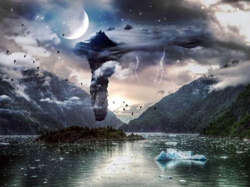 Sky and night landscape with moon and birds free photo