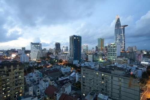Skyline and Cityscape in Saigon, Vietnam free photo