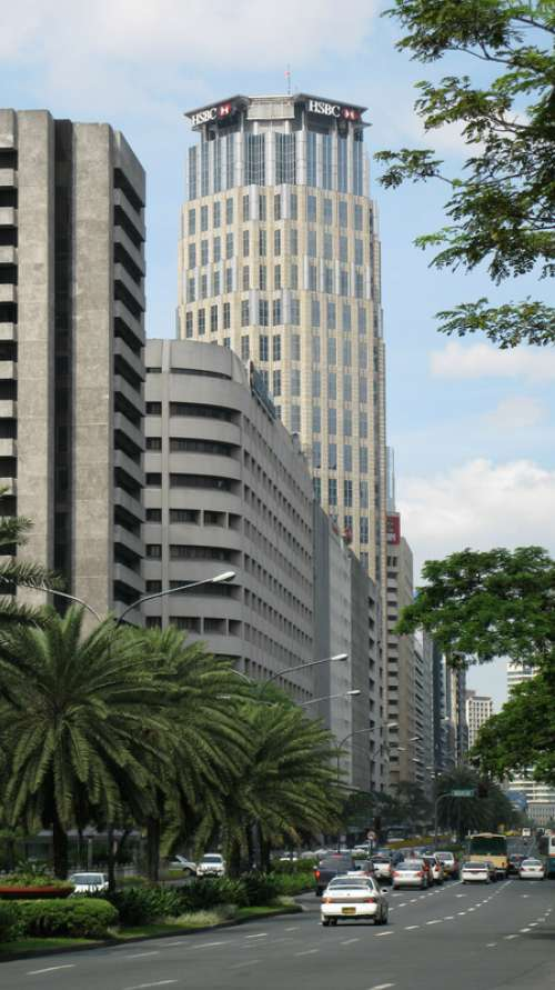 Skyline and roadview in Manila, Philippines free photo