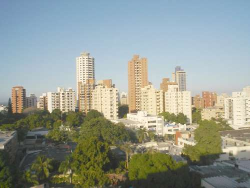 Skyline and tall towers of Barranquilla, Colombia free photo