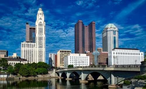 Skyline of Columbus under Blue Skies in Ohio free photo