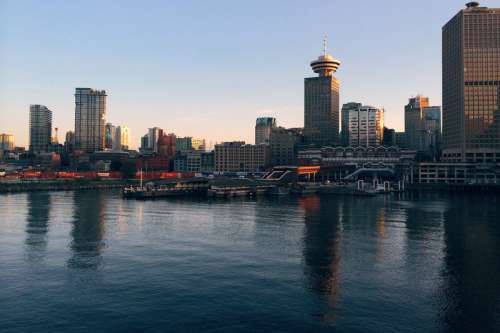 Skyline of Vancouver near the docks in British Columbia, Canada free photo
