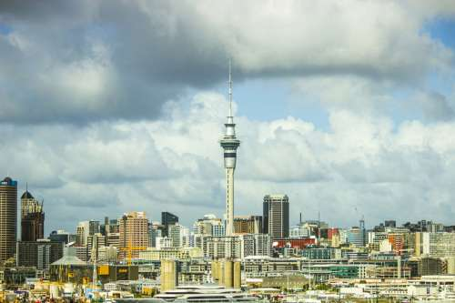 Skyline, sky, and clouds of Auckland, New Zealand free photo