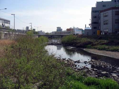 Small Creek running through Uiwang, South Korea free photo