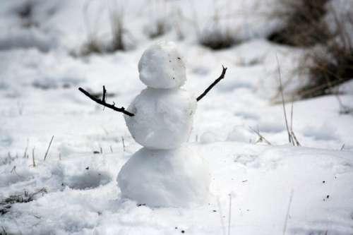Small Snowman in winter free photo
