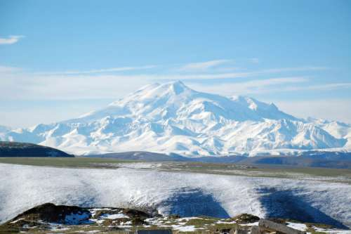 Snow-capped Mount Elbrus, Highest Point in Russia free photo